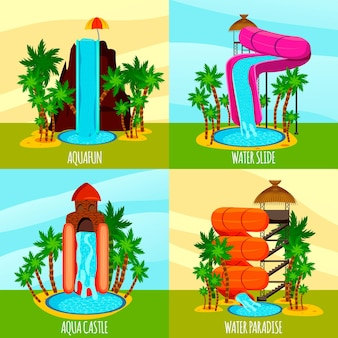 Concetto piano del parco dell'acqua con gli stagni e le palme degli acquascivoli di tema isolati