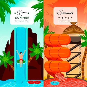 Aqua park flat vertical compositions with entertaining water slides and palm trees isolated
