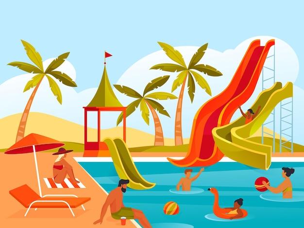 Aqua park or water park summer recreation