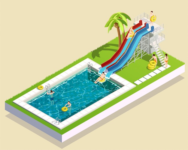 Aqua park waterslide composition