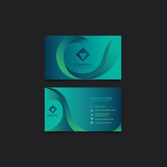 Aqua teal business card