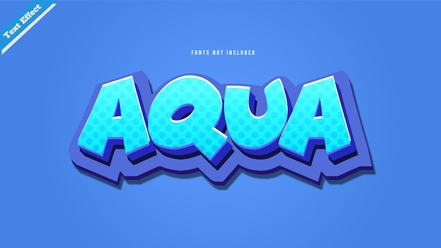 아쿠아 텍스트 효과 디자인 벡터 3d 스타일 편집 가능한 글꼴 효과입니다.
