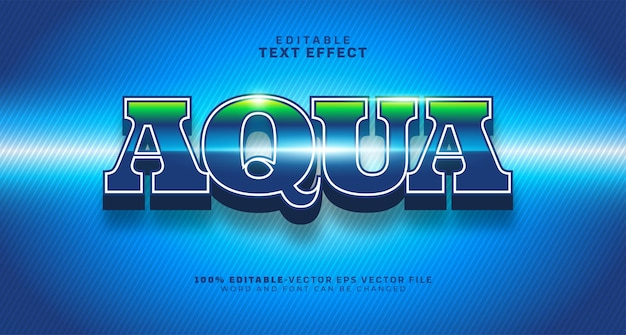 Aqua water bold 편집 가능한 텍스트 효과