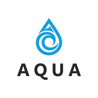 바다 물결과 산 단순하고 세련된 기하학적 현대 로고 디자인이 있는 아쿠아 워터 드롭