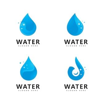 アクアウォーターのロゴデザイン。水滴ベクトルのロゴ