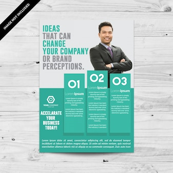 Aquamarine business brochure with white details