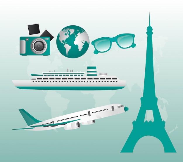 Aquamarine travel illustration