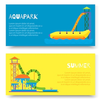 Aquapark attraction slide or waterpark with different water slides banner template set