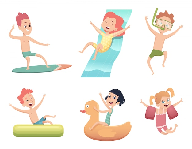 Aquapark characters. activities in water pool sea jumping and swimming happy childrens  cartoon collection