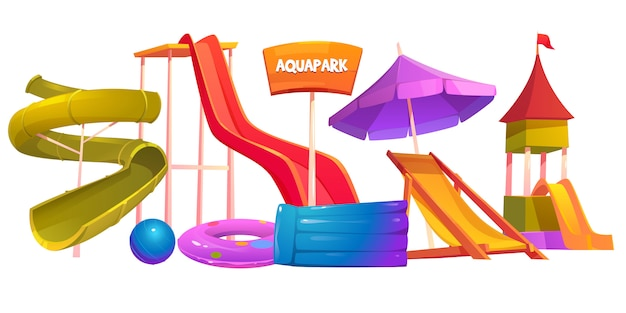 Aquapark equipment set modern amusement park water