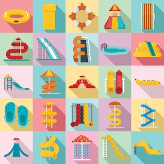 Aquapark icons set. flat set of aquapark icons