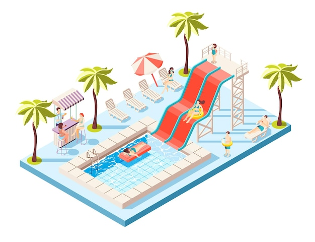 Aquapark isometric composition with water rides and swimming pool  illustration