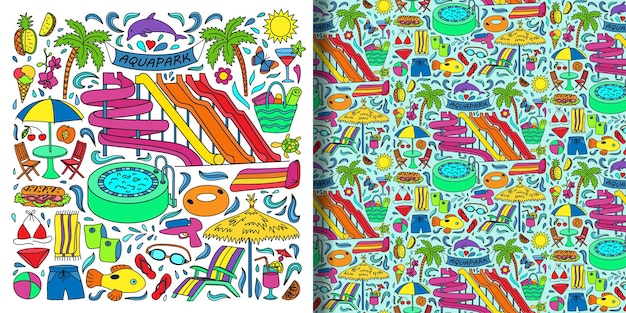 Aquapark objects doodle set and seamless pattern