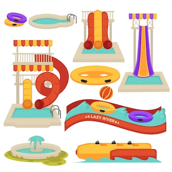 Aquapark water slides and amusement park attractions vector flat cartoon isolated