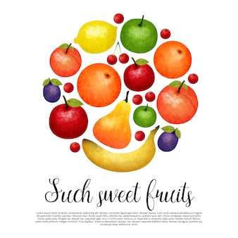 Акварель сладкие фрукты круглый дизайн
