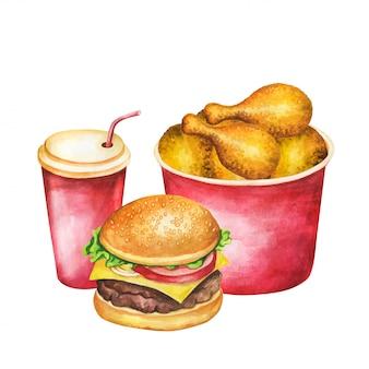 ファーストフードの水彩画。フライドポテト、ハンバーガー、ホットドッグ、コーラセット水彩イラスト。白い背景で隔離の絵画食品。レストランメニューのaquarelleファーストフード。
