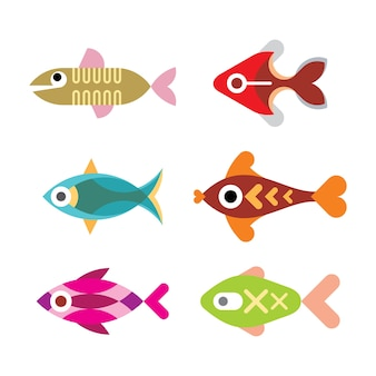 水族館の魚-分離された色のセット