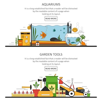 Aquarium and garden tools banners template in flat style. vector design elements