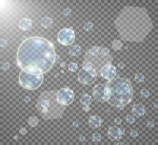 透明な背景に水族館。現実的な泡のイラスト。