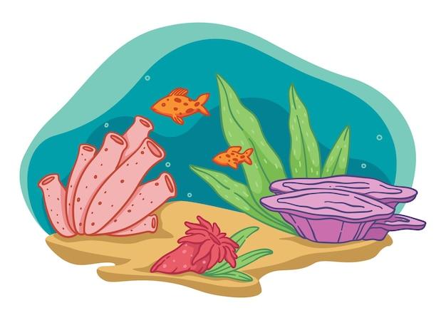수족관 또는 바다 또는 바다의 바닥. 헤엄치는 물고기와 산호초, 해초와 자연