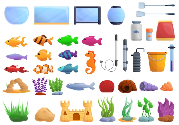 Aquarium set, cartoon style
