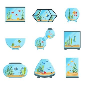 Набор аквариумных баков, различные типы аквариумов с растениями и рыбами, подробные иллюстрации на белом фоне