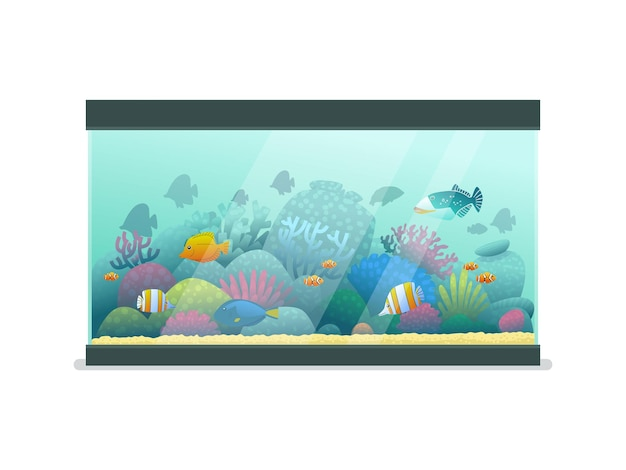 Aquarium with sea fish on an isolated background. vector illustration in cartoon style