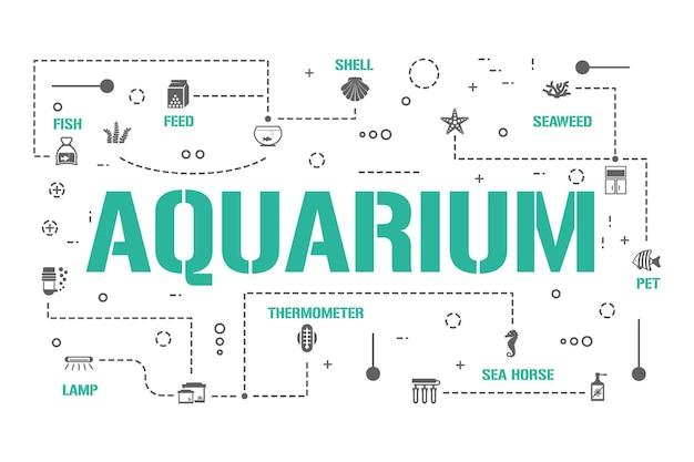수족관 단어 개념 배너입니다. 조개, 생선, 산호 및 해초. 해양 애완 동물 관리 인포 그래픽. 프레젠테이션, 웹사이트. ui ux 아이디어. 글리프 아이콘이 있는 격리된 레터링 타이포그래피. 벡터 평면 그림