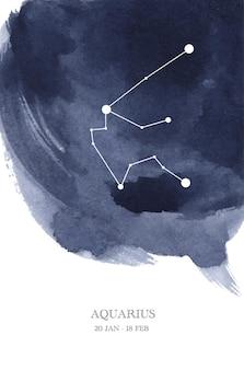 Aquarius constellation astrology watercolor illustration. aquarius horoscope symbol made of star sparkles and lines.