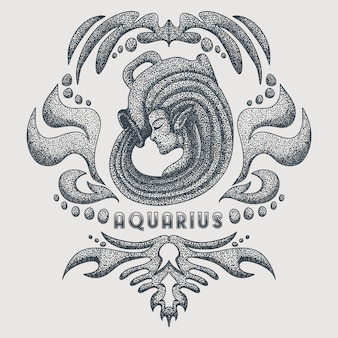 Aquarius vintage vector illustration