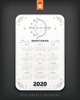 Aquarius  year zodiac calendar pocket size vertical layout black color  style  concept illustration