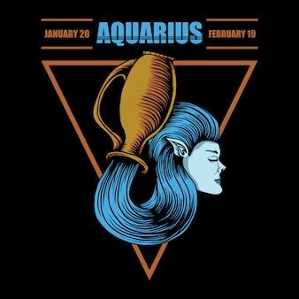 Aquarius zodiac illustration