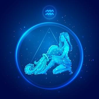 Aquarius zodiac sign in circle