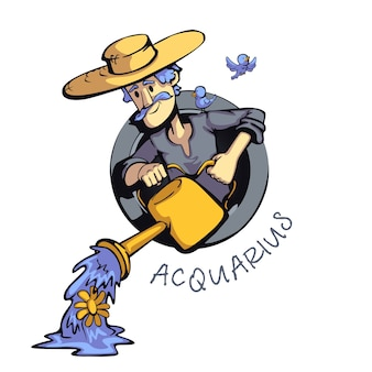 Aquarius zodiac sign man flat cartoon . astrological symbol personality, farmer with watering can. ready to use 2d character for commercial, printing design. isolated concept icon