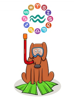 Aquarius zodiac sign with cartoon dog