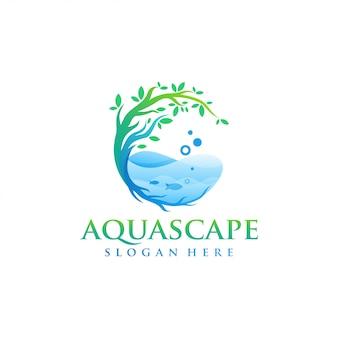 Aquascapeのロゴデザインのベクトル
