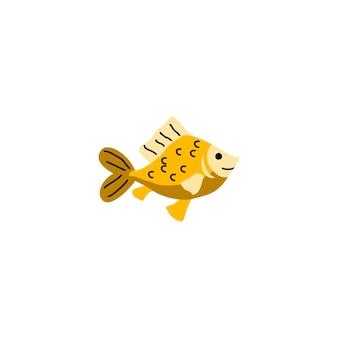 Водные животные рыбы, живущие в морской или речной воде, векторная иллюстрация