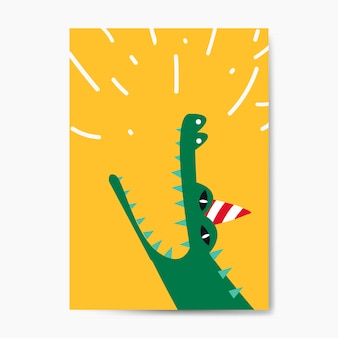 Aquatic cartoon crocodile wearing a party hat