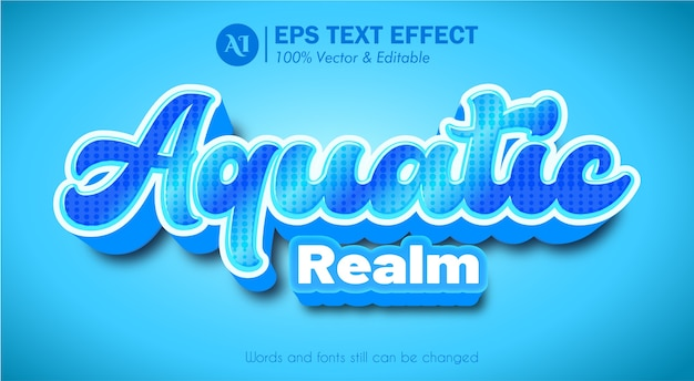 Aquatic realm 3d pop-up editable text effect