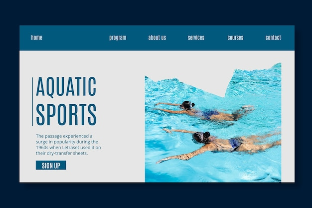 Aquatic sports landing page template Free Vector