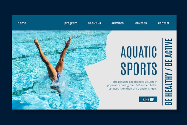 アクアティックスポーツのランディングページテンプレート