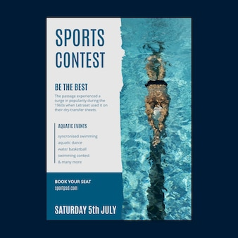Aquatic sports poster template Free Vector