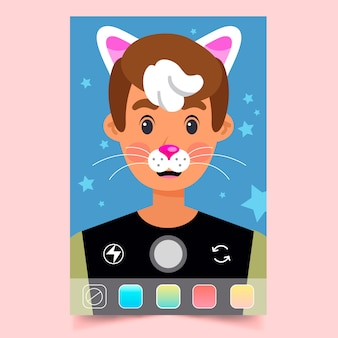 Ar instagram filter template with bunny