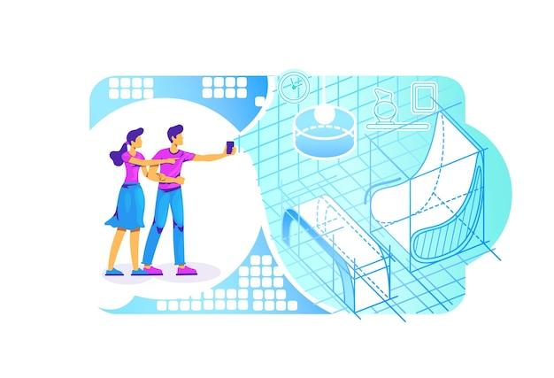 Ar интерьерная проекция 2d веб-баннер, плакат. люди с плоскими персонажами смартфонов на фоне мультфильма. симулятор для развлечения. визуализация комнаты в красочной сцене дополненной реальности