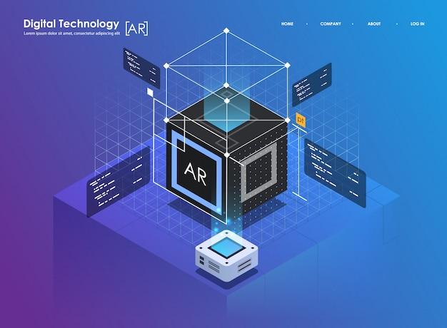 Изометрические дизайн концепции виртуальной реальности и дополненной реальности. развитие ar и vr. digital media technology для веб-сайта