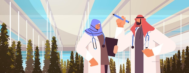 Arab agricultural engineers researching plants and writing results in tablet smart farm agriculture scientist concept greenhouse interior horizontal portrait vector illustration