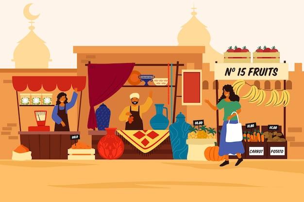 Концепция иллюстрации арабского базара