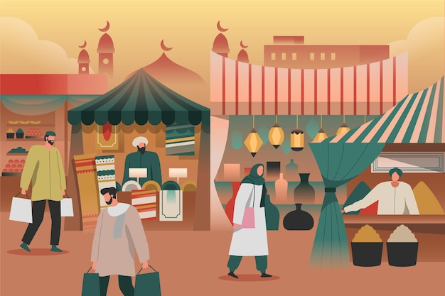 Arab bazaar illustration concept