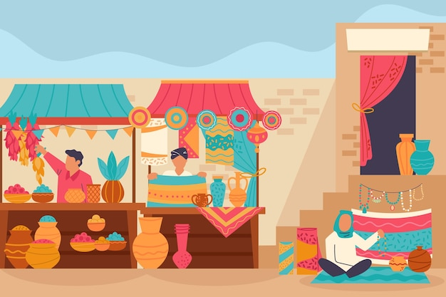 Arab bazaar illustration with characters