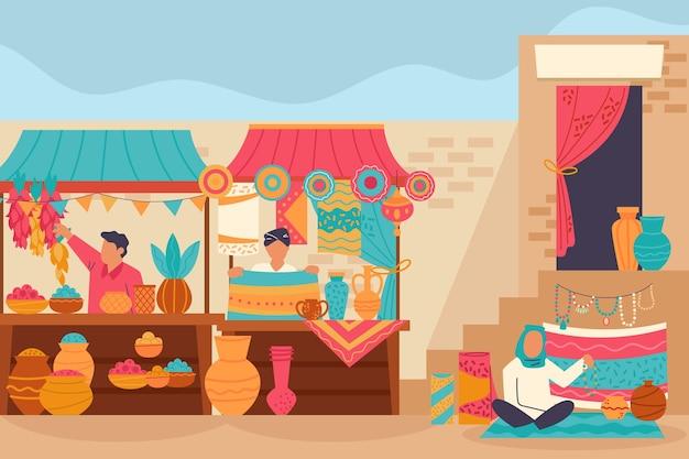 Арабский базар иллюстрация с персонажами